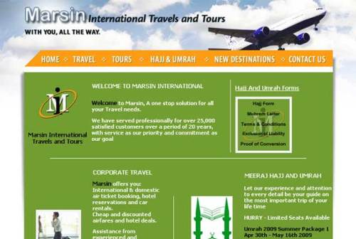 Marsin International Travels Website - Homepage