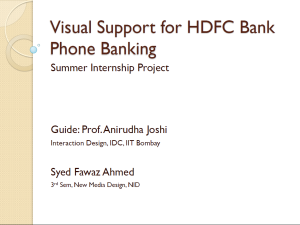 Visual Support for HDFC Bank Phone Banking - Presentation (opens in  a new window)